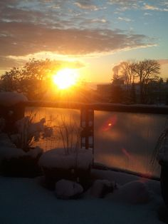 sun rise @ Nanaimo Vancouver Island British Columbia w/ snow
