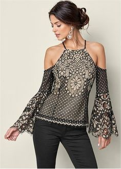 Black Multi Lace Bell Sleeve Top from VENUS women's swimwear and sexy clothing. Order Black Multi Lace Bell Sleeve Top for women from the online catalog or Women's Summer Fashion, Look Fashion, Fashion Outfits, Womens Fashion, 70s Fashion, Black Bell Sleeve Top, Spanx Faux Leather Leggings, Lace Tops, Long Sleeve Tops