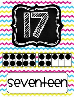 FREE BRIGHT CHEVRON NUMBER POSTERS 1-20 TeachersPayTeachers.com