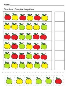 Apple Themed Packet for Pre-K and Kindergarten Find this patterning page and more apple themed activities in this packet! October Preschool Themes, Fall Preschool Activities, First Day Of School Activities, Apple Activities, Kindergarten Art Projects, Kindergarten Lesson Plans, Preschool Science, Preschool Worksheets, Math Patterns