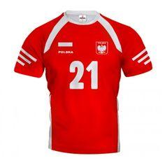 POLSKA 2014/15 Koszulka Siatkarska Czerwono-Biała z Własnym Nadrukiem