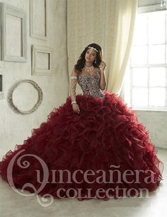 Find More Quinceanera Dresses Information about New Luxury Burgundy Quinceanera Dresses 2016 Ball Gowns Organza Sweetheart