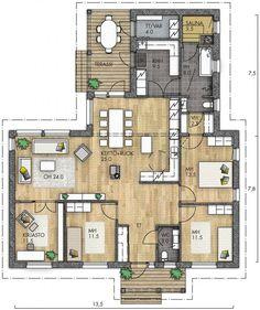 HARMAJA 143 - Kannustalo Future House, My House, House Landscape, Bungalow, Aesthetic Rooms, Retro Home, House Floor Plans, Sims, My Dream Home
