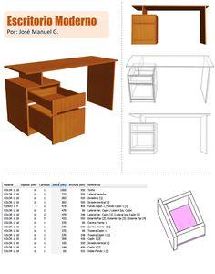 Diseño De Muebles Madera: Escritorio Moderno Diseño - 3D - Medidas, Desglose...