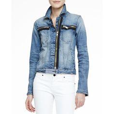 "RtA DenimFaded Denim Zip-Detail JacketDetailsRtA faded denim jacket. Approx. measurements: 18 3/4""L down center front, 20 1/4""L down center back, 10"" sleeve op…"