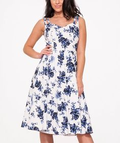 Look what I found on #zulily! Blue & White Floral China Doll Dress - Plus Too #zulilyfinds