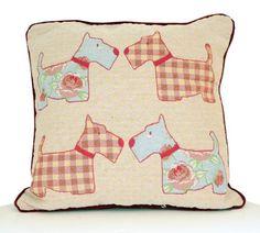 Schönen roten Floral Scottie Dog Vintage Gobelin Design Kissen mit gefüllten Pad: Amazon.de: Küche & Haushalt