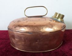 Antique Primitive Country Cottage Signed Copper Hot Water Bottle Bed Foot Warmer