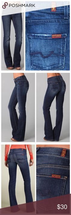 7FAMK High Waist Bootcut Jeans Denim Dark Wash 7 For All Mankind High Waist Bootcut jeans in excellent condition. Flattering and comfortable fit. These will become your new favorite jeans. Intentional fading and mild distressing throughout. The stitching is dark blue, unlike the tan stitching on modeled pics. Modeled images from google. Rise measures 8.5 inches, so they aren't super high rise mom jeans. Inseam is 32 inches, they have been hemmed. Slightly stretchy cotton/elastane blend…