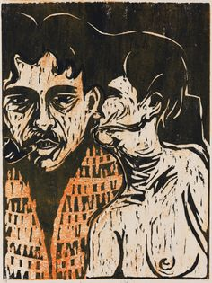 By Ernst Ludwig Kirchner (1880-1938), 1907, Maler und Modell, Dichter und Weib (Painter and model, poet and wife), Woodcut.