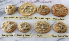The Ultimate Guide to Chocolate Chip Cookies. What questions do you have about chocolate chip cookies? Do you prefer soft or crisp, chewy or cakey, thin or thick cookies? Baking Soda Baking Powder, Delicious Desserts, Yummy Food, Tasty, Yummy Eats, Perfect Chocolate Chip Cookies, Cupcakes, Think Food, Perfect Cookie