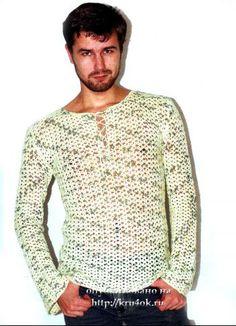 Мужской свитер. Вязание крючком.