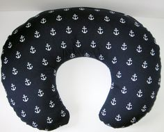 Boppy Cover, Boppy Slipcover, Anchor, Nautical, Ocean, Cotton, Navy Blue, Baby Shower Gift, Nursing Pillow Cover , Breastfeeding