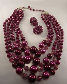 """Vintage 17"""" 5 strand necklace, raspberry, pink, matching earrings, excellent, NR #5strand"""