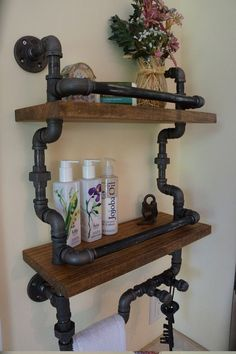 Plumbing Pipe Shelves and Hangers - http://diyforlife.com/plumbing-pipe-shelves-hangers/ - #Bookshelves, #PlumbingPipeShelves, #Steampunk