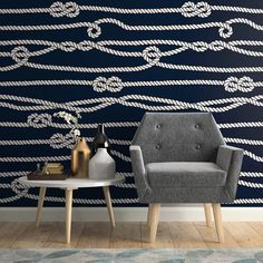 Longshore Tides Hatton Line Nautical Removable Peel and Stick Wallpaper Panel Small Bathroom Wallpaper, Nautical Wallpaper, Nautical Interior, Wallpaper Panels, Tap Room, Traditional Wallpaper, Peel And Stick Wallpaper, Textured Walls, Designer Wallpaper