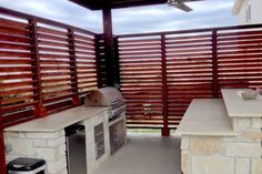 Louvered Outdoor BBQ Enclosure