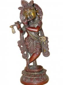 Lord Krishna Statue Gallery Brass Sculpture Diwali Gift Idea   $157.00