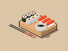 Pixel Art Japanese food designed by David Salobir. Connect with them on Dribbble; Easy Food Art, Amazing Food Art, Cute Food Art, Food Art For Kids, Creative Food Art, Pixel Art Food, Piskel Art, Food Art Painting, Japanese Food Art
