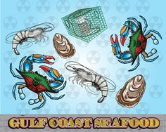 Louisiana Vector Clipart, Gulf Coast Clipart, Blue Crab Digital Cartoon, Seafood Clipart, Scrapbook Making, Instant Download by DigitalMeltdown on Etsy