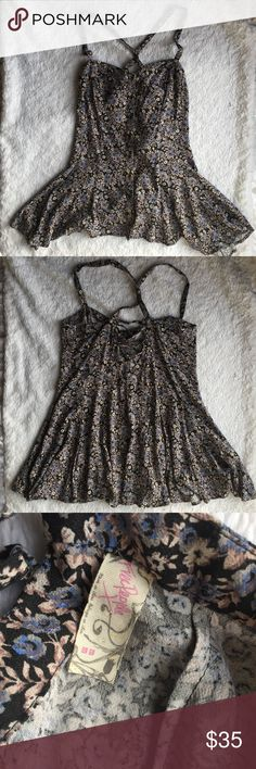 Free people bustier top Purple and black floral. Crisscross back detail. Excellent condition! Free People Tops Tunics