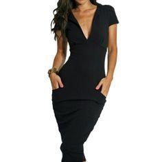 Sexy Womens Cap-Sleeve Pencil Dress Pockets Midi Length Plunge V Neck  Office  Clothing c5621124e6