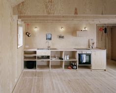 A kitchen clad entirely in plywood byJohannes Norlander Arkitektur. For more of the all-plywood interior, seeArchitect Visit: Johannes Norlander in Sweden.