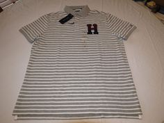 Mens Tommy Hilfiger Polo shirt XL Striped 7880979 Snow 004 grey Classic Fit NEW #TommyHilfiger #polo