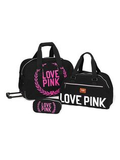 Girl on-the-go? Meet the Three-piece Travel Set from Victoria's Secret PINK. Shop our Travel & Accessories collection for luggage and suitcase sets you'll love, and the cutest duffle bags, too! Rosa Victoria Secret, Victoria Secret Outfits, Victoria Secrets, Vs Pink Outfit, Pink Outfits, Marca Pink, My Bags, Purses And Bags, Travel Luggage