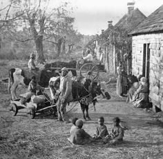 1860 Slaves on a S.C. Plantation. These look like they may be the Magnolia Plantation, just outside of Charleston. If yes, the cabins still stand are available for viewing. It's very moving.