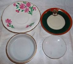 4 Saucers Including Adderley England & Craftsman Hand Painted, Craft Art Supply - http://glass-pottery.goshoppins.com/pottery-china/4-saucers-including-adderley-england-craftsman-hand-painted-craft-art-supply/