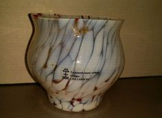 Lisa Larson SKRFU Sweden w label glass votive holder vase jar white w red accent