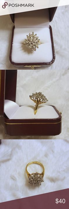 Vintage EDCO 925 Cluster Ring Vintage EDCO Cluster Ring 14k Gold Plated  over Sterling Silver. Ring is in excellent condition and looks absolutely BEAUTIFUL on!!!!!  Will add more pictures if needed! :) Box shown not included but I will ship in another one. Edco Jewelry Rings