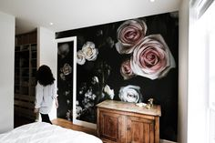 Blossoms in Your Home Mural - Converting Metric Units - Convert metric unit instantly. - Blossoms in Your Home Mural : a stunning Dark Floral Wallpaper exclusive to WYNIL for a rich and deep accent wall in a bedroom or living room idea. Neutral Bedroom Decor, Neutral Bedrooms, Accent Wall Bedroom, Accent Walls, Commercial Wallpaper, Tropical, Prepasted Wallpaper, Headboards For Beds