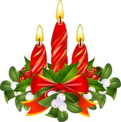 Merry Christmas Graphics | Clip Art of Candles, Mistletoe and Holly