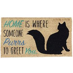 Cat Door mat Indoor/Outdoor Natural Coir Easy Clean Rubber Non Slip Backing Entry Way Doormat For Patio, Front Door, All Weather Exterior Doors, 18 x - Home Cat Crazy Cat Lady, Crazy Cats, I Love Cats, Cute Cats, Cats Humor, Funny Kitties, Adorable Kittens, Decor Scandinavian, Cat Decor