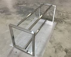 """28""""H x 28""""W x 52""""L Stainless Steel Base with Extension Bars, Chrome Legs, Dining Table Legs"""