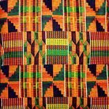 """Kente Cloth- K-2nd.  history and color significance with the students. great lesson for sorting and stacking strips of paper by size - something that can easily be tied into math.  After the students overlap strips of paper, used Sharpie markers to add traditional African line patterns to """"kente cloth"""""""