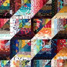 A detail of my newest Self-Mitered Log cabin Workshop sample for Chicago #QuiltFestival 2015