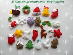 PDF pattern 24 advent ornaments pattren by MagicPatternShop