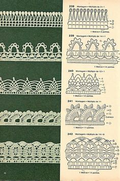 Crochet Edgings And Borders Check out the diagrams and learn to make more than 150 points, (crochet edgings) with images. There are several crochet borders that can be applied in various crochet projects. Choose your favorites… Crochet Boarders, Crochet Edging Patterns, Crochet Lace Edging, Crochet Diagram, Crochet Chart, Crochet Designs, Crochet Doilies, Crochet Flowers, Filet Crochet
