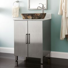 "24"" Mercutio Stainless Steel Vessel Sink Vanity"