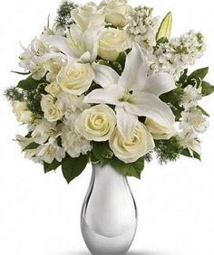 Find This Pin And More On Hand Bouquets Flowers Teleflora S Shimmering White Bouquet