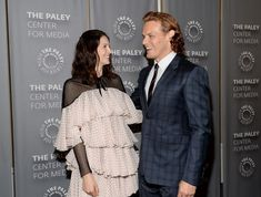 image Caitriona Balfe Outlander, Diana, Paley Center, Sam And Cait, Samheughan, Outlander Book, Summer Work Outfits, Jamie And Claire, Jamie Fraser