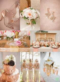 Rose Gold Wedding Styling Ideas Mood Board from The Wedding Community