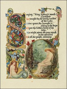 """""""The Lady of the Lake""""  page illustration by Alberto Sangorski from """"Morte D'Arthur""""  by Alfred Lord Tennyson."""
