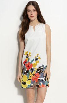 Border Print Stretch Cotton Shift Dress (Petite)