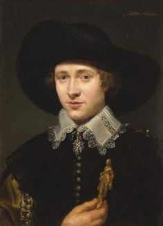 1629 Jacob van Oost the Elder - Portrait of a man holding a statuette
