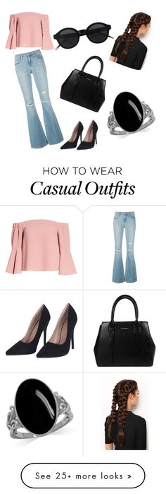"""""""Cute but casual"""" by emma6521 on Polyvore featuring Current/Elliott, Topshop, LullaBellz, denimtrend and widelegjeans"""