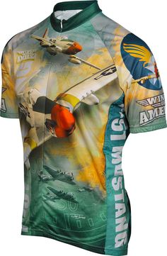 WWII P-51 Mustang Airplane Cycling Jersey 17a483c73